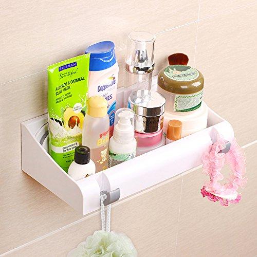 Bath Shelf Storage Organizer, Powerful Vacuum Suction Cup, LEF Shower Caddy Basket Holder for Shampoo - Bathroom Accessories with 2 Hidden Hooks, No Drill (Silver)