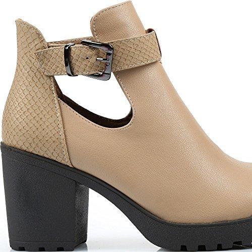 Ideal Shoes–Scarponcini in pelle sintetica con tacco spessa Judie Grigio tortora