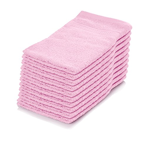 Lumaland Premium 10er Set Seiftücher Waschlappen Gästehandtücher Frottee 30 x 30 aus 100% Baumwolle 500 g/m² mit Aufhänger rosé