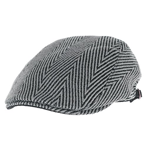 WITHMOONS Béret Casquette Chapeau Flat Cap Herringbone Pattern Wool Knitted Warm Ivy Hat LD3431 Gris
