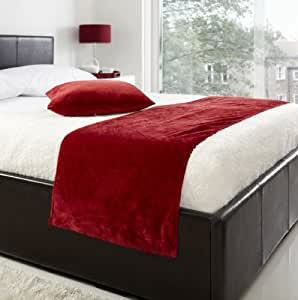 textiles id al dessus de lit couvre lit de velours velours de luxe 48cm x 195cm rouge. Black Bedroom Furniture Sets. Home Design Ideas