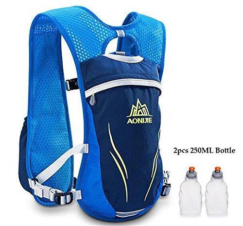 Imagen de aonijie  chaleco con sistema de hidratación para carreras, unisex, 5,5 l, incluye 2 botellas, azul alternativa