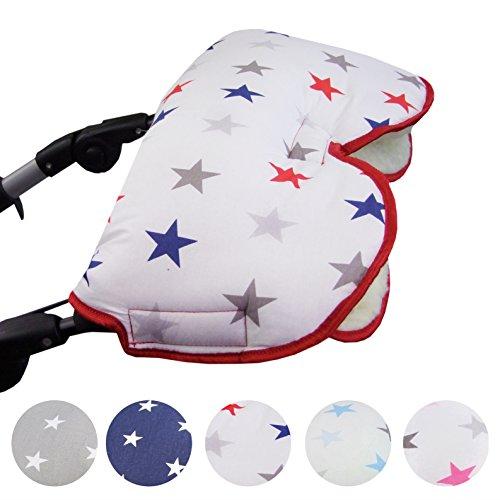 BAMBINIWELT universaler Muff/Handwärmer für Kinderwagen, Buggy, Jogger mit Wolle, Baumwolle (weiß marine rote Sterne)
