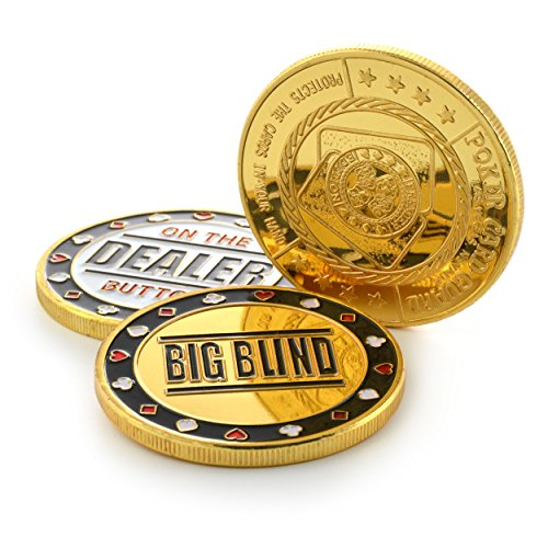 Ganzoo Poker-Button Set im Etui (Metall-Münzen), 1x Dealer Button, 1x small blind, 1x Big blind