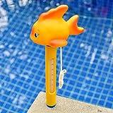 FOONEE Schwimmendes Pool-Thermometer, Cartoon-Wasserthermometer, mit Schnur für den Innen- und Außenbereich, Badewanne, Spa, Aquarien. (gelbe Ente) Gold Fish