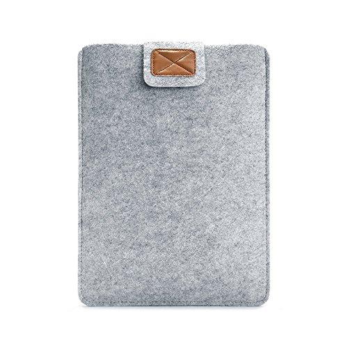 RAINYEAR 11 Zoll Leder Filz Laptop Hülle Koffer mit Klettverschluss Schützende Papiweiß Slim Macbook Filz-Hülle für 13