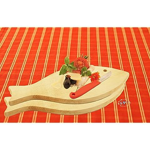 2 x raclette-tabla, pizza-tabla, cócteles vilamoura -, fondue tabla de cortar, tabla de cortar pescado - resistente, de 16 mm de picnic desayuno con pared con tablones de madera, medidas aprox 35 cm x 16 cm, Nuevo diseño de pez como bandeja de madera, tabla de cortar con mango, apto para lavavajillas, tabla de cortar de madera natural, madera de haya para todos los pescadores y pesca, compartimento tabla de pescado