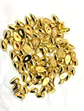 Drop shape shiny gold pastable half beads for jewellery designing