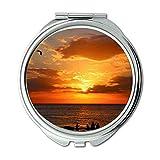 Yanteng Spiegel, Schminkspiegel, Beleuchtete Stranddämmerung, Taschenspiegel, tragbarer Spiegel