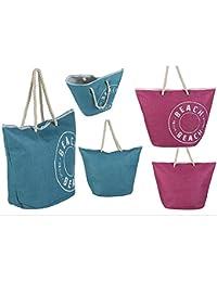 Bolsa de Playa con Asa Diseño Vintage Dos Colores Hogar y Más - Azul