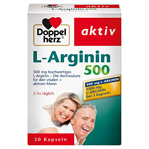 Doppelherz L-Arginin 500 – Nahrungsergänzungsmittel mit der hochwertigen Aminosäure L-Arginin für den vitalen & aktiven Mann – 1 x 30 Kapseln