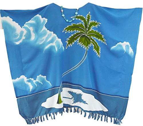 Cool Kaftans Damen Tunika Kaftan Top Bluse T-Shirt Urlaub Insel Blau Poncho Malediven - Kaftan Tunika Top