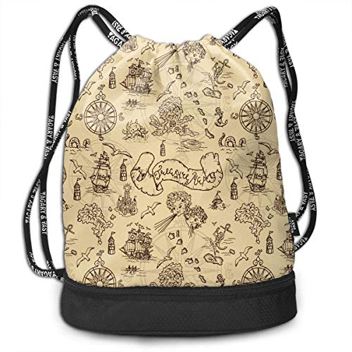 (Neoqwez Fantasy Creatures and Pirate Men Women Waterproof Drawstring Backpack Rucksack Yoga Dance Travel Shoulder Bags)