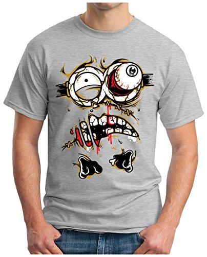 OM3 - ZOMBIE-JOKER - T-Shirt HORROR DEMON EVIL CLOWN PINGUIN Mr. FREEZE EMO SWAG, S - 5XL Grau Meliert