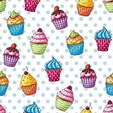 PAPSTAR Servietten/Tissueservietten, Mehrfarbig Cupcakes, (20 Stück), 3-Lagig, 33 x 33 cm, umweltfreundliches Material, für Haushalt, Gastronomie Oder Feste, 82736
