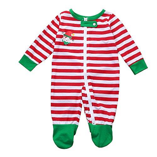 Kleider Kinderbekleidung Honestyi Weihnachtsfamilien Neugeborenes Baby Pyjama Spielanzug Overall Nachtwäsche Nachtwäsche (Grün,130)