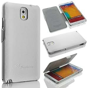 Samsung Galaxy Note 3 N9000/N9002/N9005 (LTE / 4G) Hülle, ***ECHT LEDER - HANDGEFERTIGT*** - Zubehör Case Etui Galaxy Note 3 GT-N9000 N9002 N9005 Flip Case Schutzhülle - Farben Schwarz, Braun, Weiss - (Weiss)