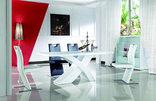 Nolana Esszimmertisch 200x90 / Esstisch / Tisch / Designertisch / Massivholz / Hochglanz - weiß