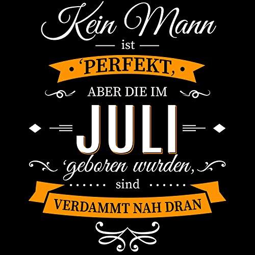 Fashionalarm Herren T-Shirt - Kein Mann ist perfekt - Juli | Fun Shirt mit Spruch als Geburtstag Geschenk Idee Schwarz