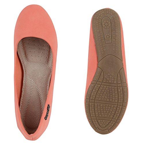 Klassische Damen Ballerinas Flats Slipper Schuhe Lederoptik Rot