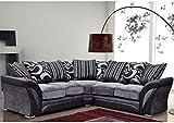 * NEW Farrow Leder & Chenille Fabric Ecksofa in schwarz + grau oder braun * Vier Sitze schwarz