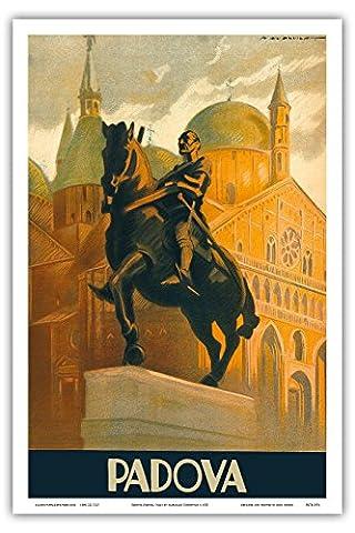Padoue, Italie - Statue équestre de Gattamelata - Basilique Saint-Antoine - Piazza del Santo - Vintage World Travel Poster by Marcello Dudovich c.1935 - Reproduction Professionelle d'art Master Art Print - 31cm in x