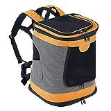 Petcomer Faltbarer, Weicher Rucksack für Katzen Hund mit Verstellbarer, Gepolsterter Schulter Mesh-Top-Öffnung Hundetragetasche bis 10 kg (Orange)