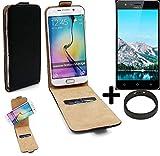 K-S-Trade TOP Set für TP-LINK Neffos C5S 360° Flipstyle Schutz Hülle Smartphone Tasche schwarz + TPU Bumper, Case Hülle Flip Cover für TP-LINK Neffos C5S