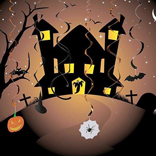 34 Stück Halloween Party Hanging Swirl Dekoration beängstigend Thema Deckendekorationen, Spider Web Fledermäuse Kürbis Zauberer Hut Riemen Schwarzen Spirale Gold Spirale Riemen von KeLe Träumer (Halloween Dekoration Sprengen)