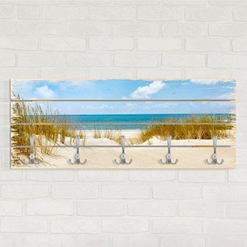Bilderwelten appendiabiti in legno - beach on the north sea - ganci cromati - orizzontale, appendiabiti a muro appendiabiti da muro appendiabiti da parete appendiabiti design, dimensione: 40cm x 100cm