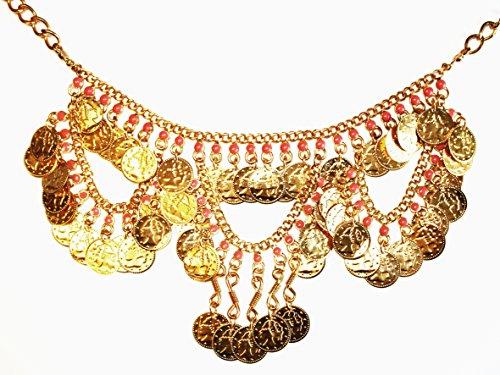 Münzencollier Collier in rot gold für Geld Kostüm (Kostüme Geld)