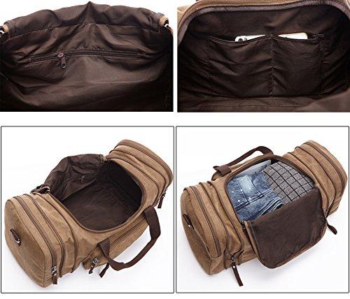 Pellor Borsa di spalla di viaggio di grande tela di canapa borsa universale unisex (nero) caffè