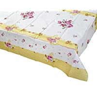 """Talking Tables Truly Scrumptious Tea Party Floral Table Cover Rectangular, Paper, Pink and Yellow, 180 x 120cm, 70"""" x 47"""""""