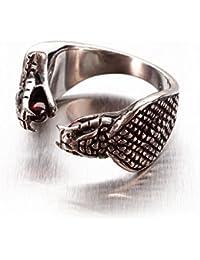 Miss–E–JEWELS–Cobra Serpiente Big cráneo anillo de acero inoxidable para hombre, Biker Gótico Punk fangbanger mexicano Pinza para red veneno ajustable pesado tamaño U 102363