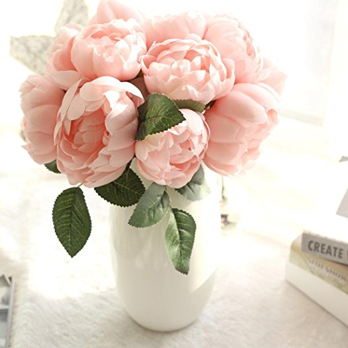 Gaddrt 1 Bouquet 6 Heads Artificial Peony Silk Flower Leaf for Home Wedding Party Decor (Pink)