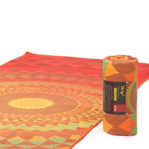 Bodhi Grip² Yoga Towel Art Collection Orange Orbit, Rutschfest, Yogatuch orange/grün mit Noppen, Mikrofaser, ideal für Hot Yoga