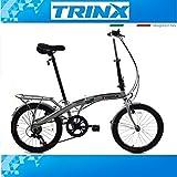 Bicicletta pieghevole Bici Bicicletta elettrica pieghevole 20pollici trinx pieghevole ruota SHIMANO 7. Gang Bianco City Ruota