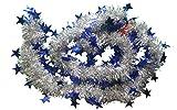 kraftz®–2m (Signalübertragung) X 9cm Deluxe Dick Silber glänzend Glitter Weihnachtsbaum Lametta Girlande Mit Blau Sterne geschoben breit für Festival Geburtstag Party Hochzeit Dekoration