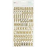 American Crafts querida Lizzy bien y Dandy pegatinas de letras Alfa 5,5 x 11 - Woodland/oro frustrado de la espuma