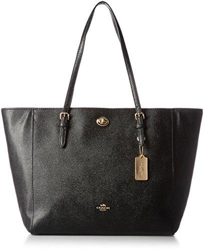 sacs-de-shopping-coach-femme-cuir-noir-et-or-57450liblk-noir-135x32x28-cm