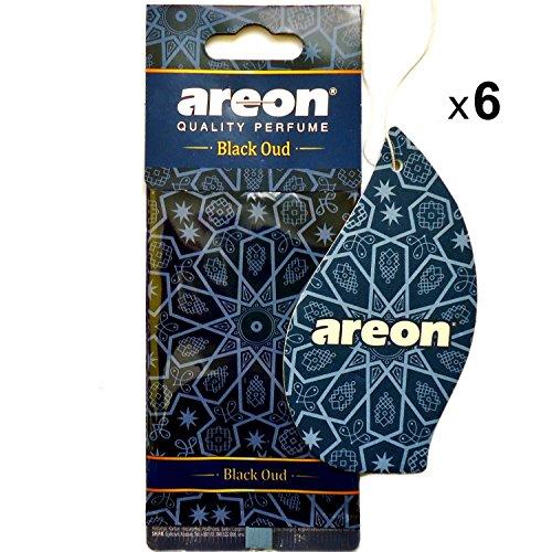 Areon Orient Deodorante Profumo Auto Oud Nero Orientale Da Appendere Pendente Specchietto Retrovisore Cartoni 2D Casa Set ( Black Oud Pack x 6 )