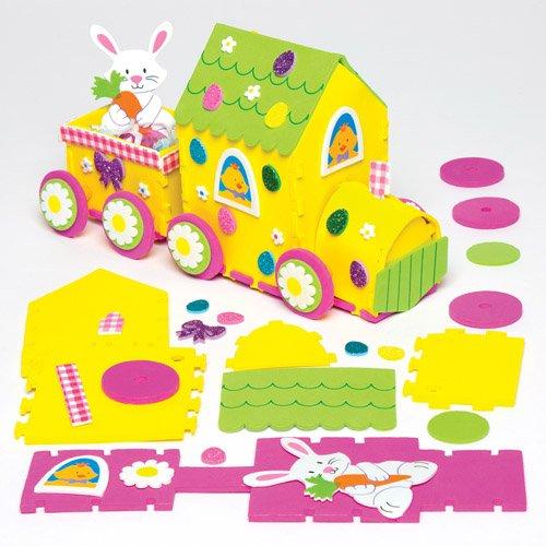 Hasenzug-Bastelset zu Ostern aus Moosgummi für Kinder zum Basteln und Dekorieren – Kreatives Bastelset für Kinder zu Ostern