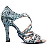 b6b4ab8b48 Manuel Reina - Zapatos de Baile Latino Mujer Salsa Competition 01 Blue  Pearl - Bailar Bachata