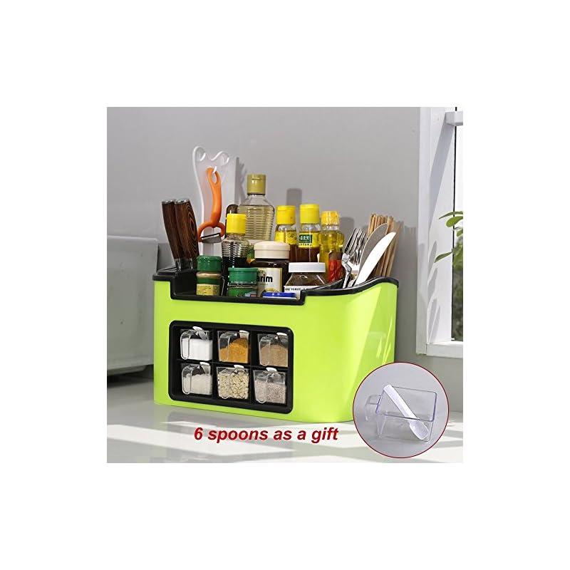 Baoyouni Gewrz Container Spice Tpfe Box Lagerung Organizer Fr Geschirr Besteck Gewrz Glas Messer Halter Mit 6 Lffel