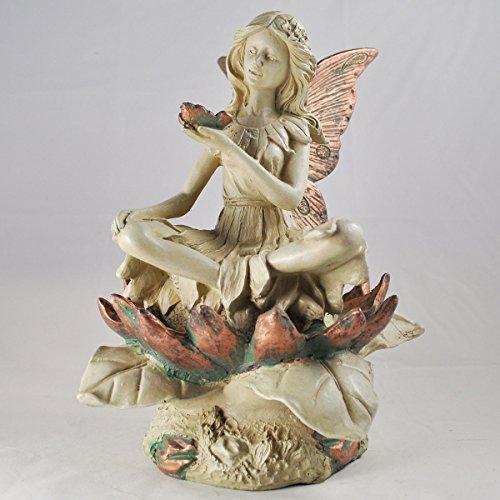 Forest Fairy SAT sul fiore bianco rame alato scultura figurine Art Deco Girl Garden Home Decor Gift H26CM