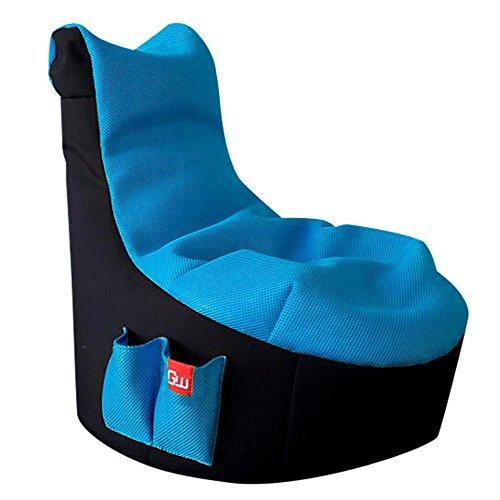 GAMEWAREZ Ice Kinder Sitzsack, MADE IN GERMANY. für PS4, XBOX360, XboxOne, Nintendo DS, Nintendo Switch, Smartphone, schwarz mit blauer Sitzfläche und Tasche - Pokemon Blau Ds