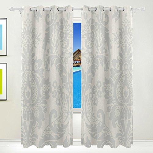 Tizorax hermes argento damasco fiore tenda oscurante. termica isolante oscurante finestra pannello tende per soggiorno camera da letto 139,7x 213,4cm, set di 2pannelli