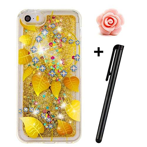 TOYYM - Cover per iPhone SE/5S/5, trasparente, glitter, bollicine galleggianti, cuori dellamore e stelline 3D mobili, in TPU Gold leaf