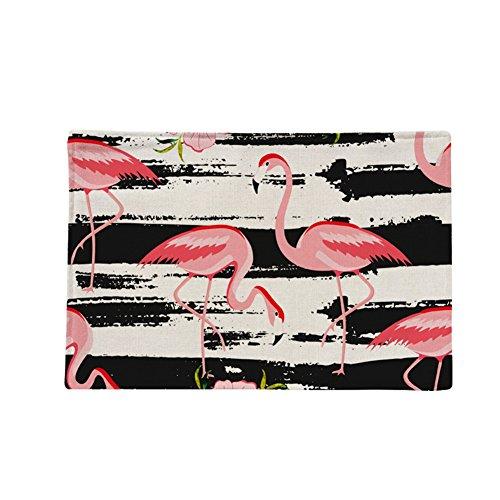 Gespout Tapis de Table Square Lin Manique Flamants Roses Sets de Table Imperméable Résistant à la Chaleur Antidérapant pour la Cuisine Style 2