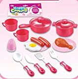 Kids Cooking Chef Kitchen Playset Toys | Cups | Plates | Spatula Spoon Knife Fork | Pan | Pot | Plastic Food | Salt Shaker | Tableware Appliances Pretend Play Set